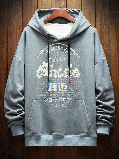 outfit Letter Graphic Print Drop Shoulder Casual Hoodie - DENIM BLUE XL Mobile