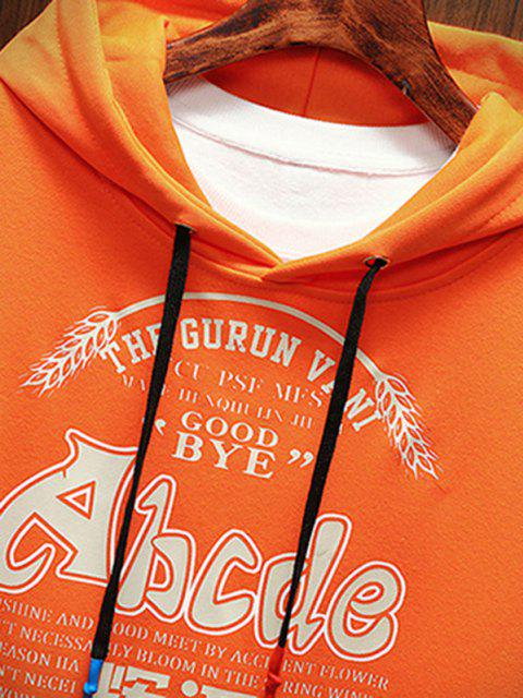 outfits Letter Graphic Print Drop Shoulder Casual Hoodie - ORANGE L Mobile