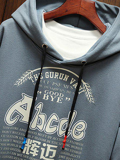 chic Letter Graphic Print Drop Shoulder Casual Hoodie - DENIM BLUE M Mobile