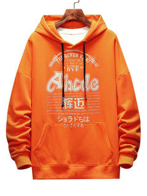 hot Letter Graphic Print Drop Shoulder Casual Hoodie - ORANGE 2XL Mobile