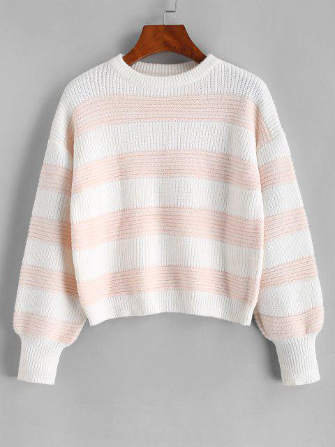 ladies ZAFUL Colorblock Stripes Crew Neck Sweater - LIGHT PINK M Mobile