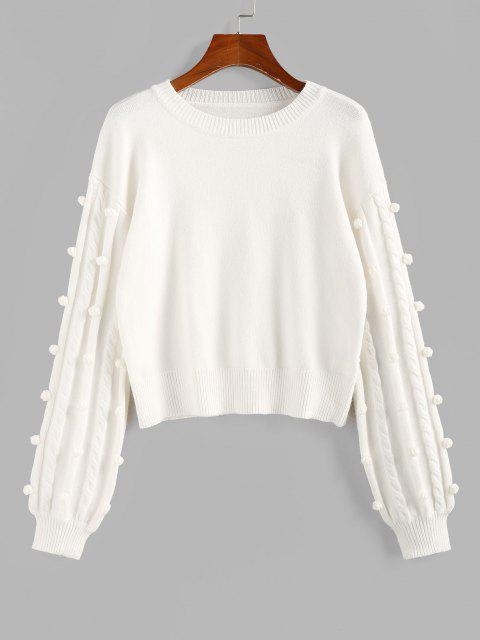 unique ZAFUL Unbridled Bauble Drop Shoulder Jumper Sweater - WHITE S Mobile