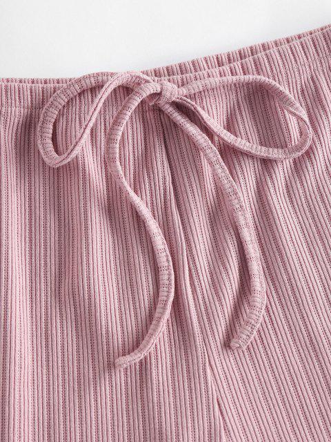 shop ZAFUL Lounge Ribbed Drop Shoulder Boat Neck Shorts Set - ORANGE PINK M Mobile