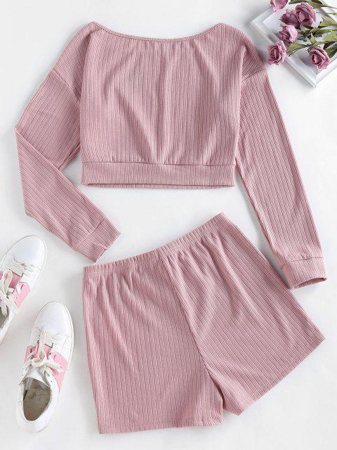 lady ZAFUL Lounge Ribbed Drop Shoulder Boat Neck Shorts Set - ORANGE PINK XL Mobile