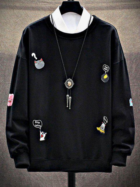 fancy Cartoon Animal Letter Print Drop Shoulder Sweatshirt - BLACK S Mobile