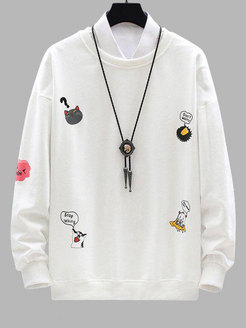 chic Cartoon Animal Letter Print Drop Shoulder Sweatshirt - WHITE XL Mobile
