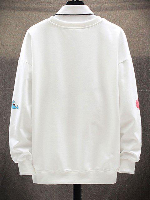 Sweat-shirt Imprimé Lettre et Animal Cartoon àGoutteÉpaule - Blanc XL Mobile