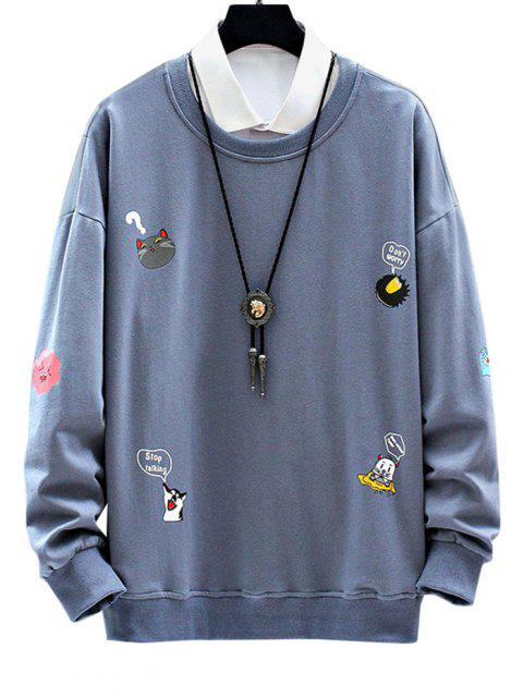 buy Cartoon Animal Letter Print Drop Shoulder Sweatshirt - DENIM BLUE 3XL Mobile