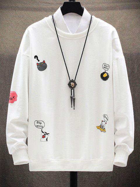 online Cartoon Animal Letter Print Drop Shoulder Sweatshirt - WHITE S Mobile