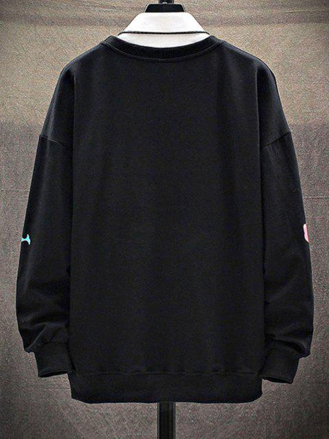 shops Cartoon Animal Letter Print Drop Shoulder Sweatshirt - BLACK M Mobile