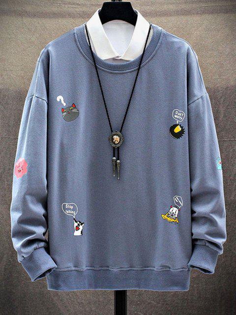 Moletom de Ombro Caído com Estampa de Animal de Desenhos - Azul Denim 2XL Mobile