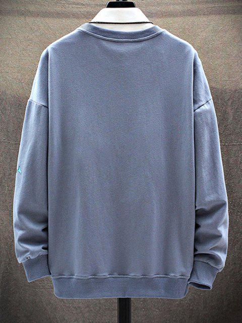 unique Cartoon Animal Letter Print Drop Shoulder Sweatshirt - DENIM BLUE S Mobile