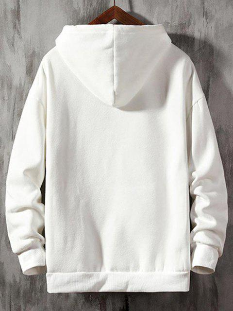 affordable Funny Cartoon Letter Graphic Drop Shoulder Hoodie - WHITE 2XL Mobile