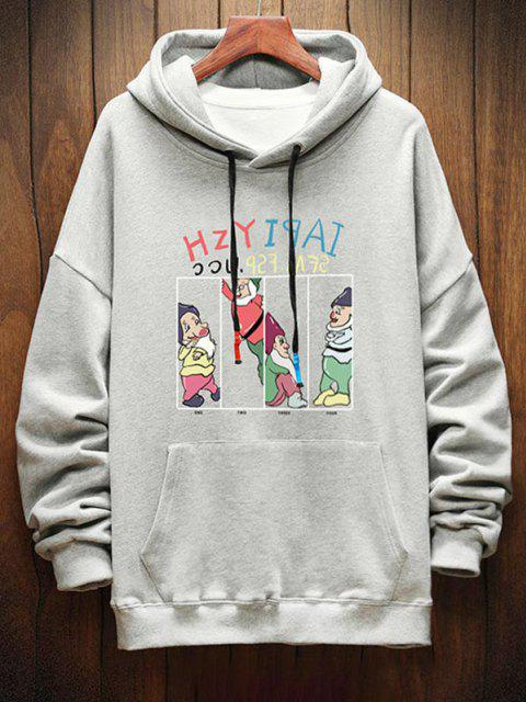 chic Funny Cartoon Letter Graphic Drop Shoulder Hoodie - LIGHT GRAY S Mobile