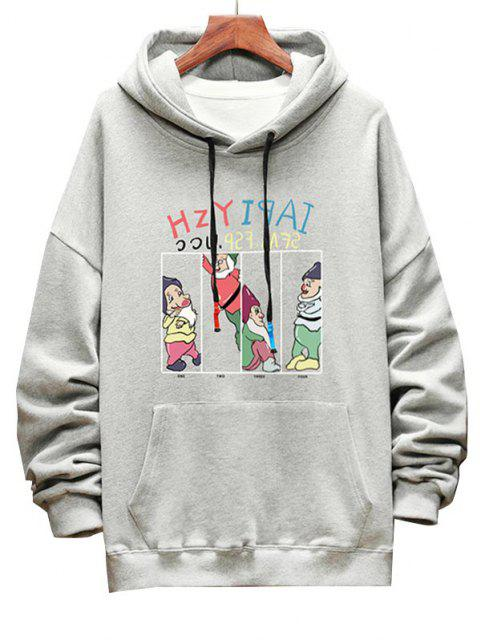 best Funny Cartoon Letter Graphic Drop Shoulder Hoodie - LIGHT GRAY L Mobile