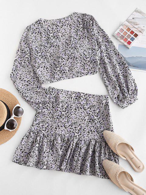 ladies Knot Ditsy Floral Flounce Two Piece Skirt Set - LIGHT PURPLE L Mobile