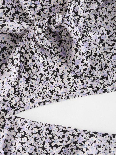 affordable Knot Ditsy Floral Flounce Two Piece Skirt Set - LIGHT PURPLE M Mobile