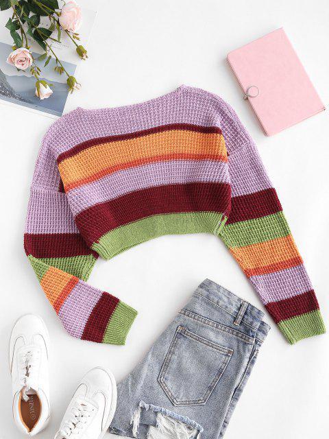 chic Drop Shoulder Colorblock Crop Sweater - LIGHT PURPLE ONE SIZE Mobile