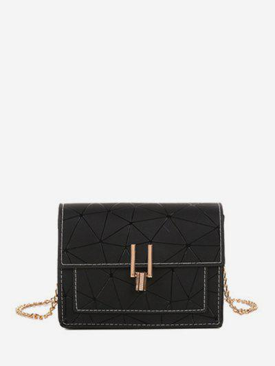 Geometric Print Flap Chain Crossbody Bag - Black