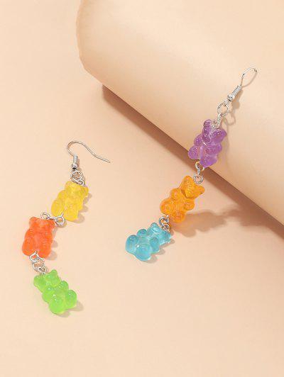 Bear Candy Shape Dangle Earrings - Multi-a