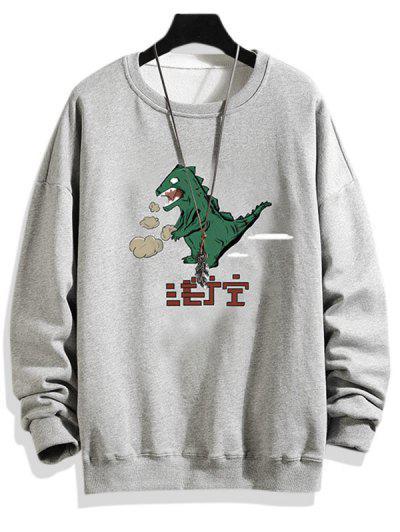 Sweat-shirt Dinosaure Dessin Animé Imprimé à Goutte Epaule - Gris Clair L