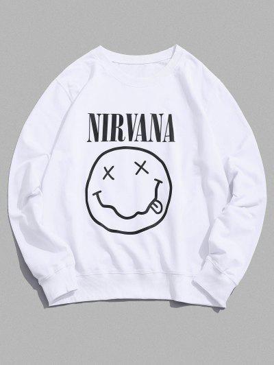 Funny Face Graphic Lounge Crew Neck Sweatshirt - White M