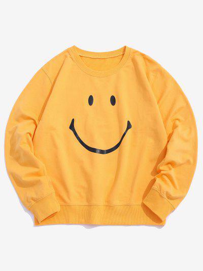 Lounge Smiley Face Graphic Crew Neck Sweatshirt - Yellow Xs