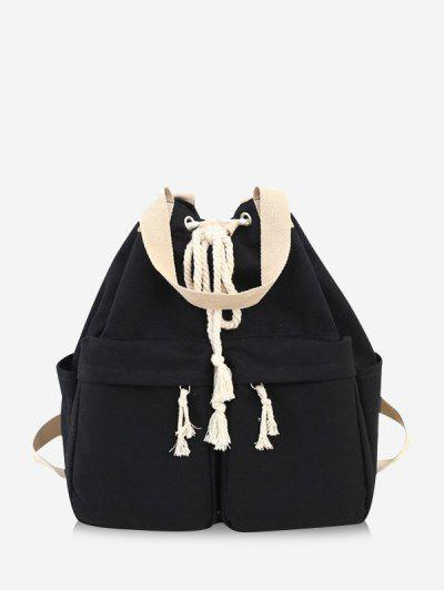 Multi-pocket Canvas Drawstring Backpack - Black