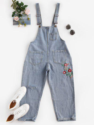 Floral Embroidered Ripped Denim Overalls Jumpsuit - Light Blue Xl