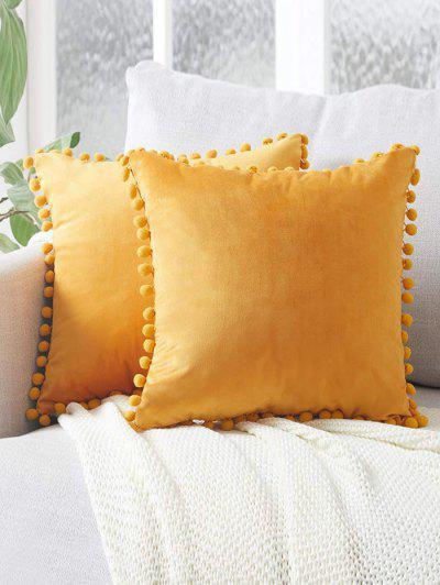 Solid Pom Pom Velour Sofa Pillowcase - Yellow W18 X L18 Inch