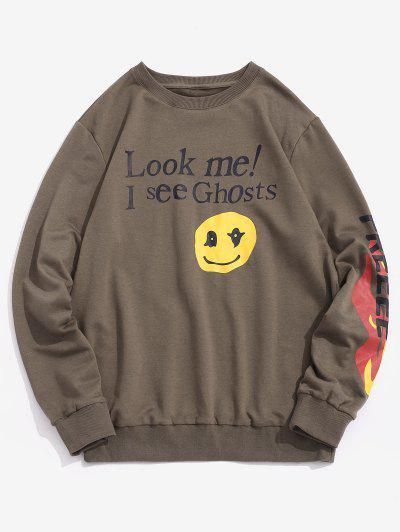 Letter Graphic Print Funny Sweatshirt - Gray Xl
