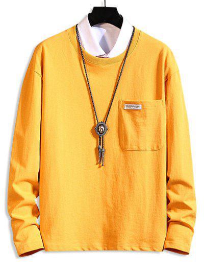 Pocket Patch Plain Long Sleeve T-shirt - Bright Yellow 4xl
