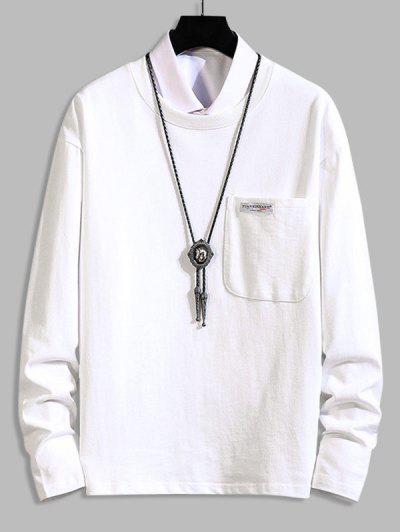 Pocket Patch Plain Long Sleeve T-shirt - White 2xl