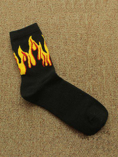 Fire Pattern Sports Crew Socks - Black