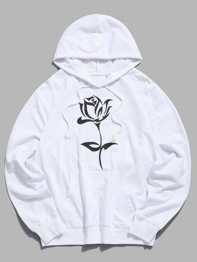 Floral Graphic Pouch Pocket Pullover Hoodie - White Xs