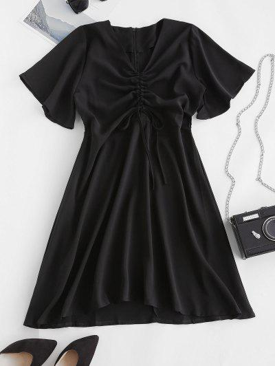 Cinched Tie A Line Casual Dress - Black L