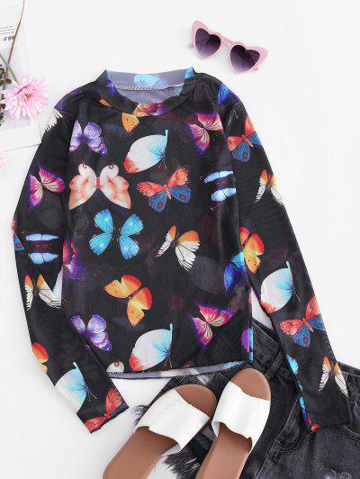 Butterfly Mesh See Through Slim Tee - Black