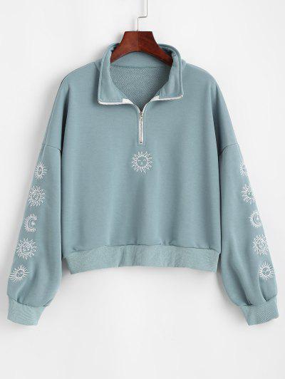 Sweat-shirt Etoile Et Lune Brodées à Demi-Zip - Bleu M