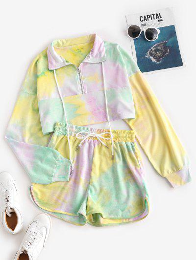 Tie Dye Half Zip Sweat Two Piece Set - Multi S