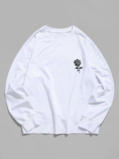 Rose Graphic Crew Neck Casual Sweatshirt - White M