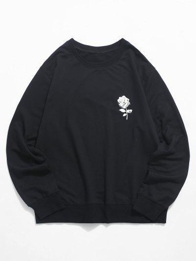 ローズグラフィッククルーネックスウェットシャツカジュアル - 黒 Xl