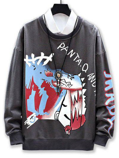 Cartoon Wolf Graphic Print Drop Shoulder Sweatshirt - Dark Gray 2xl