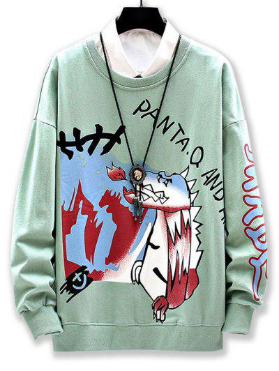 Cartoon Wolf Graphic Print Drop Shoulder Sweatshirt - Light Green 3xl