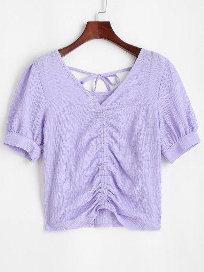 Glitter Textured Ruched Tie Casual Blouse - Purple S