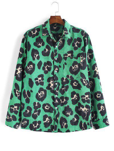 Leopard Animal Print Corduroy Shirt - Deep Green M