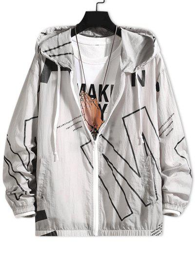 Letter Print Sun Proof Hooded Jacket - Gray M
