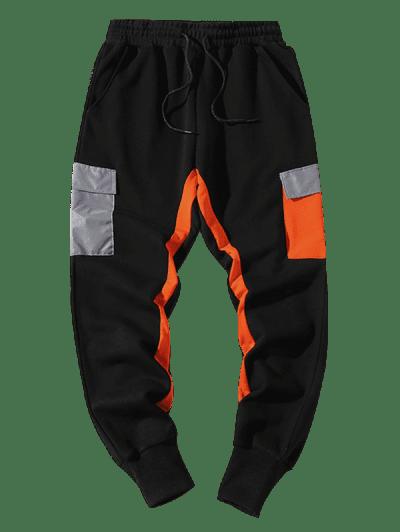 Drawstring Reflective Pocket Contrast Sweatpants
