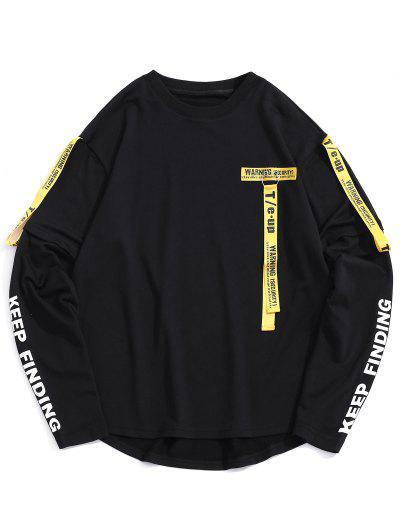 Letter Tape High Low Graphic Sweatshirt - Black L