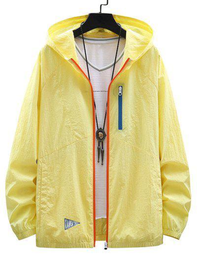 Veste à Capuche Zippée Protection Solaire En Blocs De Couleurs - Jaune De Maïs  M