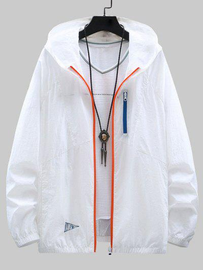 Colorblock Zip Up Sun Proof Hooded Jacket - White 4xl